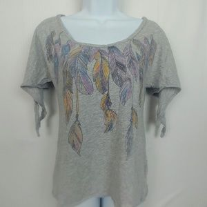 Canyon River Blues Boho Feather Top w/ Tie Sleeves